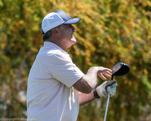 Bob Shaps puts hand action on his tee shot.